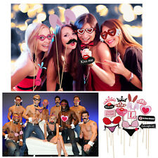 61pcs Funny DIY Photo Booth Props Kit for Hen Bachelor Party Mustache Glasses