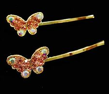 USA Bobby Pin Rhinestone Crystal Hair Clip Hairpin Butterfly Gold Pink Simple