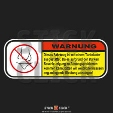 WARNUNG Turbolader Sticker FUN Aufkleber dub jdm Decal Turbo tuning Auto