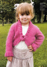KNITTING PATTERN CHILD 1-12yrs MOHAIR BOLERO WITH FLOWER BROOCH L/SLEEVED KM M1A