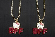 Hello Kitty Glitter Best Friends Pendant Necklace Sanrio BFF Set of 2 NWT