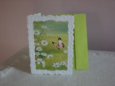 Carol's Rose Garden - Birthday card - Daisies and a butterfly on cover