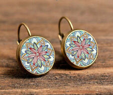 Mandala picture Bronze Glass cabochon 18mm Lever back Earrings Jewelry @9