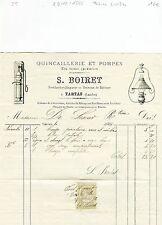 Dépt 40- Tartas - Belle Entête d'une Quincaillerie et Pompes en Tous Genres 1886