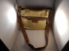 """WOMAN'S CANVAS YELLOW PURSE WITH 24"""" STRAP -  PLENTY OF POCKETS"""
