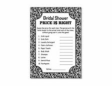 24 Bridal Shower Wedding Floral Damask Price Is Right Game Cards 5x7