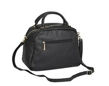 Domo Premium Leather Two Handle Loaf Handbag - Black Bag - RRP £369 - Box6463 A
