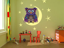 "Owl On The Moon kids room, nursery vinyl wall decal graphics 22""x22"""