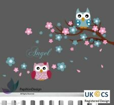 Cherry Tree Flower Owls Angel Words nursery Kid Baby Girl Boy wall Decal sticker