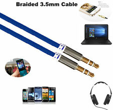 1M - 3.5mm Jack Professional HQ AUX Cable -Audio Lead For Headphone/MP3 NAVY UK