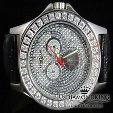 Men's Khronos/Joe Rodeo White Gold Finish Large White Stone Bezel Wrist Watch