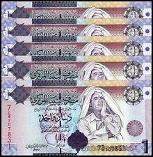 LIBYA 1 DINAR 2009 UNC 5 PCS CONSECUTIVE LOT P.71
