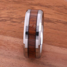 8mm Tungsten Inlaid Koa Wood Comfort Fit Wedding Ring
