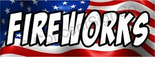 4'x10' FIREWORKS BANNER XL Outdoor Sign Stand Sale July 4th Firework Store Booth