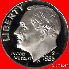 1986 S Roosevelt Dime Deep Cameo Gem Proof No Reserve