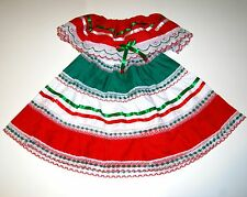 Girls Mexican Party Dress Size 8 Red Tri Color Silk Ribbon and Lace