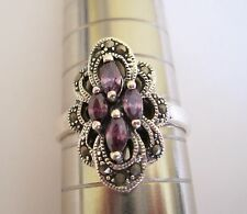 Solid Sterling Silver Marcasite + Purple Amethyst CZ Cluster Ring.Size U.