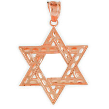 Fine 10k Rose Gold Hebrew Gift Pink Judaica Charm Jewish Star of David Pendant