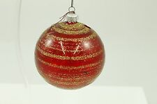 Antique Handblown Glass Christmas Ornament Red & Gold Handpainted Holiday