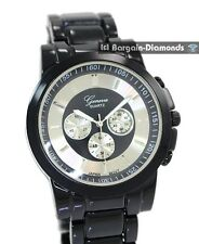mens black steel dress business watch designer dial link bracelet boyfriend lady