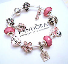 Authentic Pandora Silver Bangle Charm Bracelet with Love Crystal European Charms