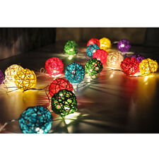 20-LED Battery Operated Diwali Decor Rattan Ball Shape String Lamp Fairy Lights