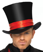 Top Hat Black With Red Ribbon