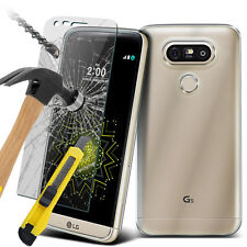 Ultra Thin Clear TPU Gel Skin Case Cover & Glass for LG G5