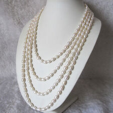 """100"""" 5-7mm White Rice Freshwater Pearl Strand Necklace"""