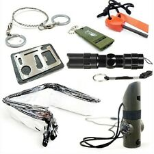Survival Kit Whistle Draht sah Flintstones Taschenlampe Schlafdecke Messer-Karte