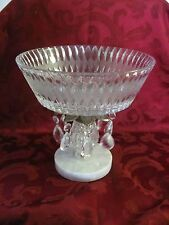 Hollywood Regency 1970's bowl prisms marble cast metal stand gorgeous!