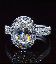 Lovely 2.26 Ct Oval Cut Diamond Round Halo U-Setting Engagement Ring G,SI2 EGL