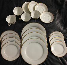 Noritake Guilford 20 pc Set White China Gold Trim Dinner Salad Bread Plates C/S