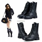 Women Combat Army Military Biker Flat Mid Calf Lace Up Ankle Boots 6 7 8 9 10 11