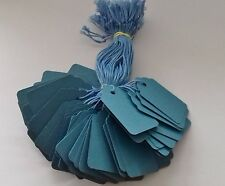 100 BLUE STRUNG PRICE TAGS 45MM X 28MM SWING TICKETS