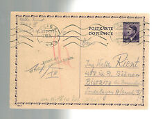 1944 Prague Germany to Bistritz Concentration Camp Postcard Cover Walter rient