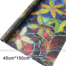 45cm*1.5M Static Cling Cover Stained Flower Window Film Glass Privacy Home Decor