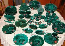LARGE LOT OF VINTAGE LEFTON HOLLY CHRISTMAS HOLIDAY DISHES 49 PIECES