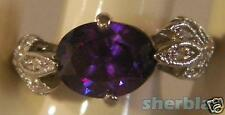 Amethyst With Clear Rhinestones Coctail Ring Silvertone over Copper Sz 9