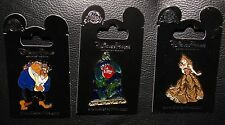 Disney Beauty Beast Belle Stained Glass Rose 3 Pin Set New On Original Cards