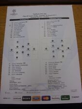 16/08/2011 Colour Teamsheet: Arsenal v Udinese [Champions league] (Tactical Line