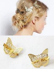 4PCS Gold 3D Butterflies Hair Clips Hairpins Hair Ornament Duckbill Clips