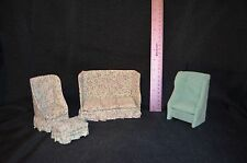 Vintage Dollhouse Furniture Upholstered Couch, Chair w/ Add. Chair & Ottoman