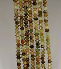 4X3MM GREEN GARNET GEMSTONE GREEN FACETED RONDELLE 4X3MM LOOSE BEADS 7.5""