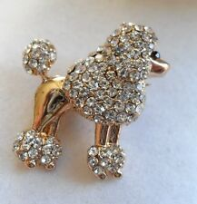 DIAMANTE POODLE BROOCH french dog lover gift present puppy crystal rockabilly