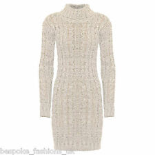 Ladies Women's Long Sleeve Polo Neck Cable Knitted Jumper Mini Dress Top 8-14