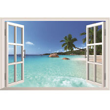 Large 3D Beach Tree Sea Window View Removable Wall Sticker Home Decor 96 x 56 cm
