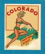 "VINTAGE ORIGINAL 1948 CHARMER ""MISS COLORADO"" STATE SEXY PINUP WATER DECAL ART"
