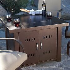 "NEW Clevr Home 38"" Propane Patio Heater Table Fire Pit Bronze Finish Glass"