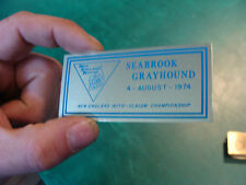 Unused Dash Plaque: aug 4, 1974 SEABROOK GRAYHOUND new england auto-salom